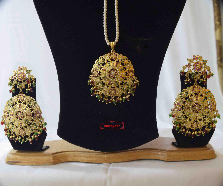 Jadau Pendant Set Gold Plated Jewellery J4012 2