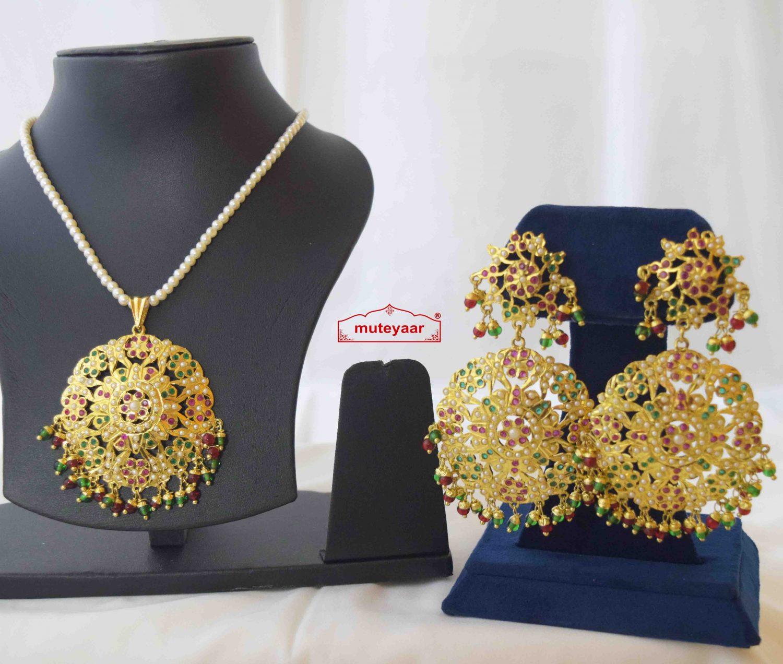 Jadau Pendant Set Gold Plated Jewellery J4012 3