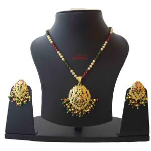 Locket Set Jadau Jewellery With Ruby Emerald Colours J4016