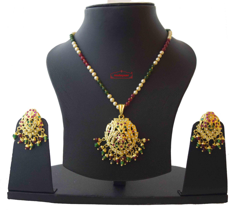 Locket Set Jadau Jewellery With Ruby Emerald Colours J4016 1