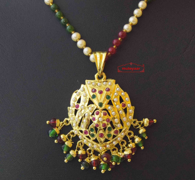 Locket Set Jadau Jewellery With Ruby Emerald Colours J4016 2