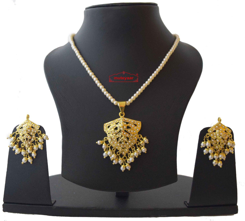 Gold Plated Jadau Locket Set with White Beads J4017 1