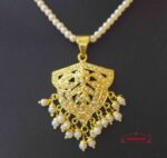 Gold Plated Jadau Locket Set with White Beads J4017