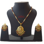 Red Beads jadau Locket Set J4018