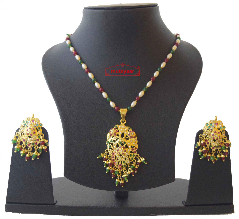 Real Gold Plated Locket Set Jadau Jewellery J4019 1