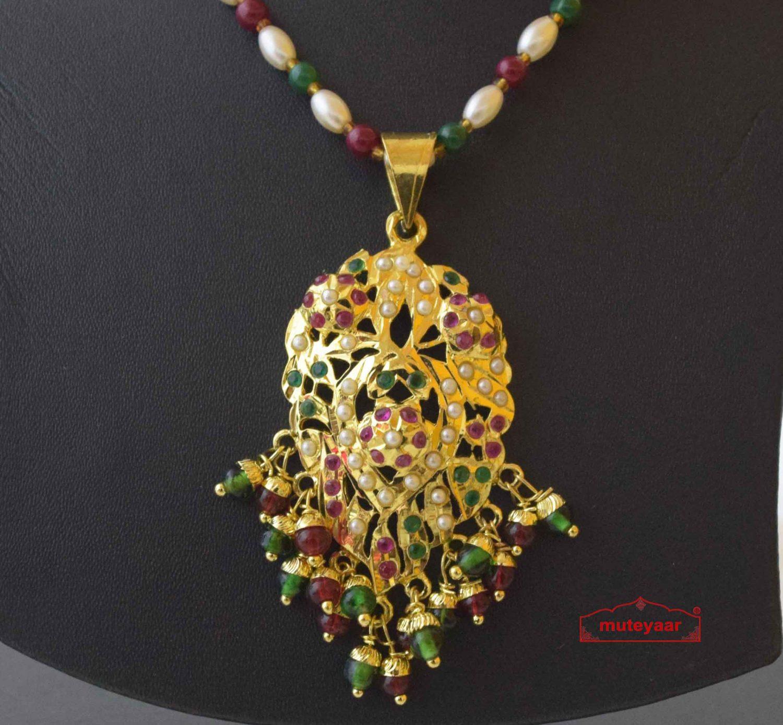 Real Gold Plated Locket Set Jadau Jewellery J4019 2