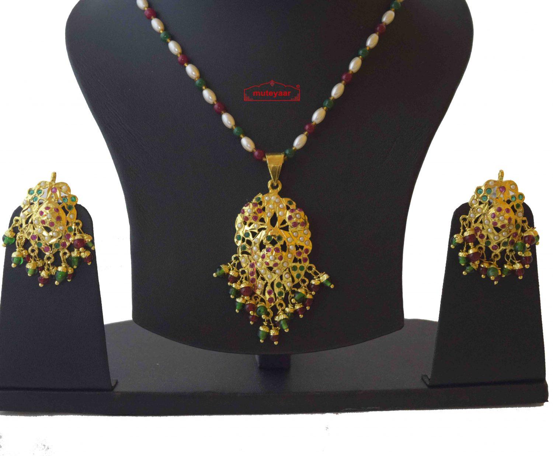 Real Gold Plated Locket Set Jadau Jewellery J4019 3