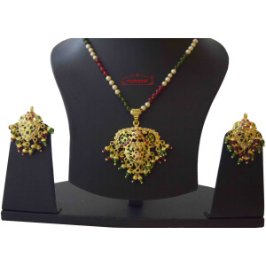 Pendant Jadau Jewellery Set with Red Green Beads J4021
