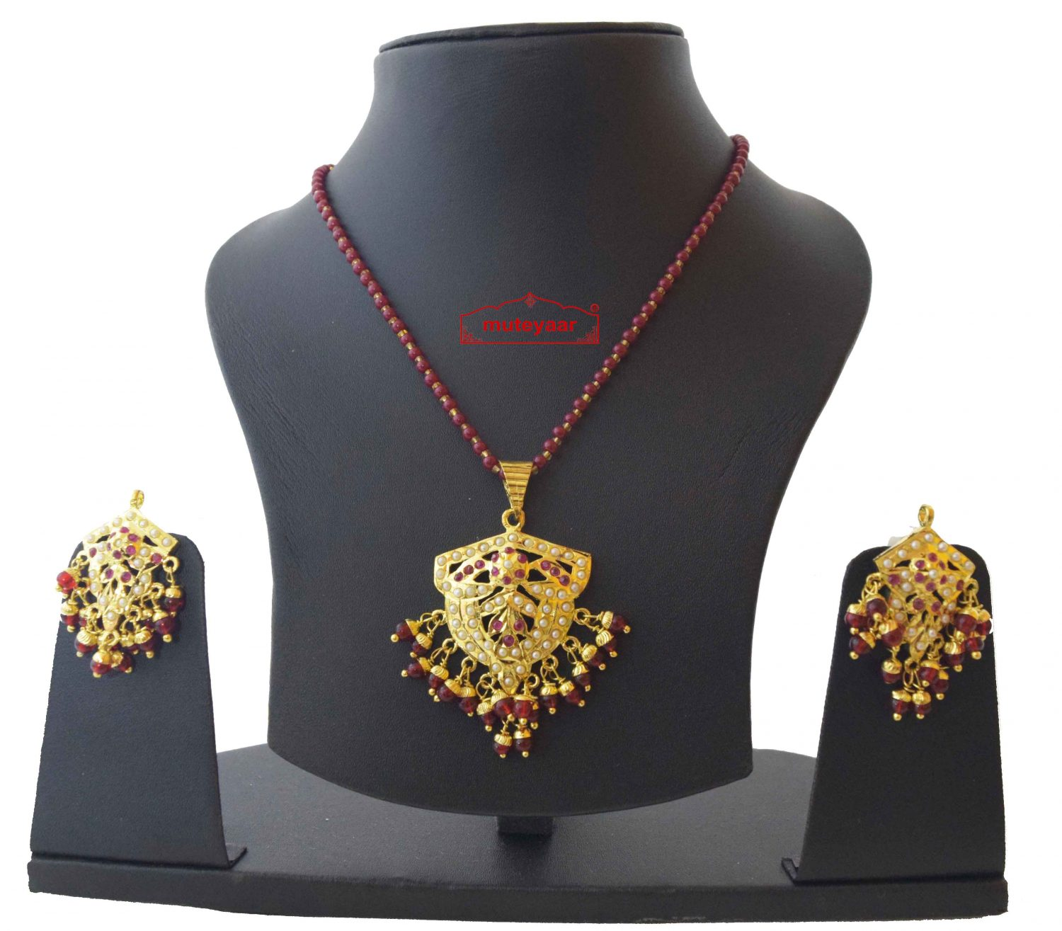 Gold Plated Ruby Jadau Jewellery Locket Set J4022 1
