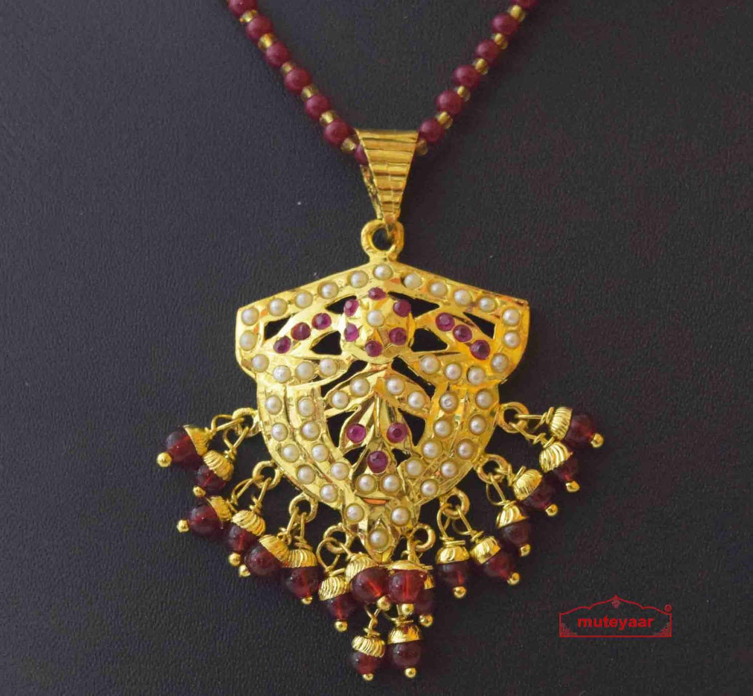 Gold Plated Ruby Jadau Jewellery Locket Set J4022 2