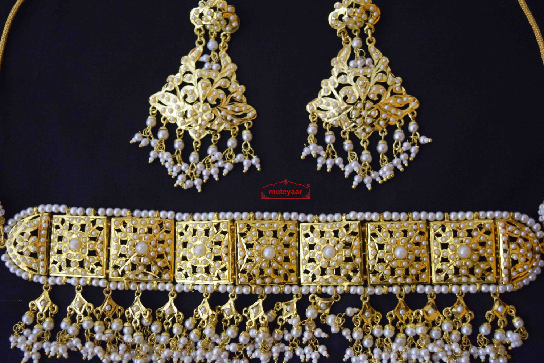 White Guluband Choker Set Jadau Jewellery J4024 2