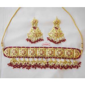 Red Gulband Choker Set Jadau Jewellery J4025