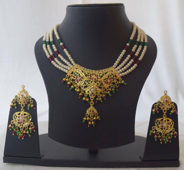 Punjabi Jadau Jewellery Locket Set J4028 1
