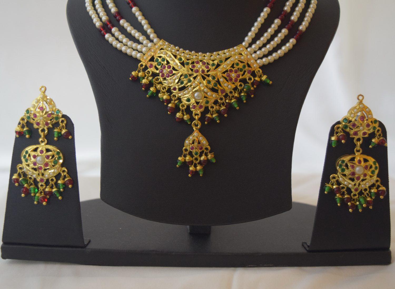 Punjabi Jadau Jewellery Locket Set J4028 4