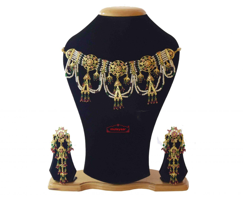 Jadau Gulband Jhallar Set Gold Plated Jewellery J4032 1