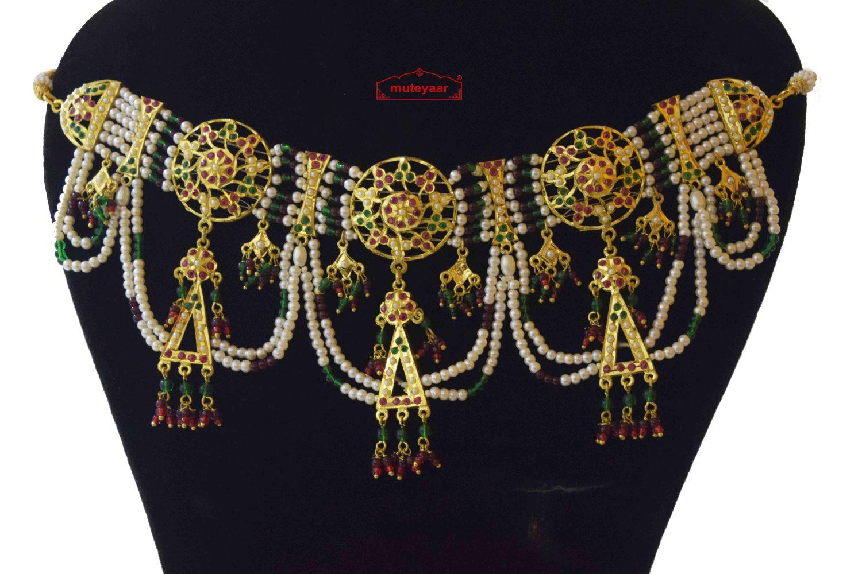 Jadau Gulband Jhallar Set Gold Plated Jewellery J4032 2