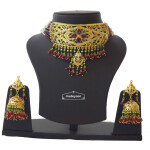 Gold Plated Ruby Emerald Jadau Gulband Set J4033