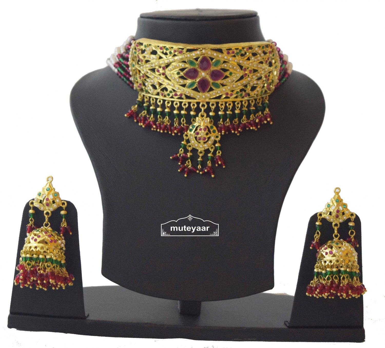 Gold Plated Ruby Emerald Jadau Gulband Set J4033 1