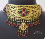 Gold Plated Ruby Emerald Jadau Gulband Set J4033