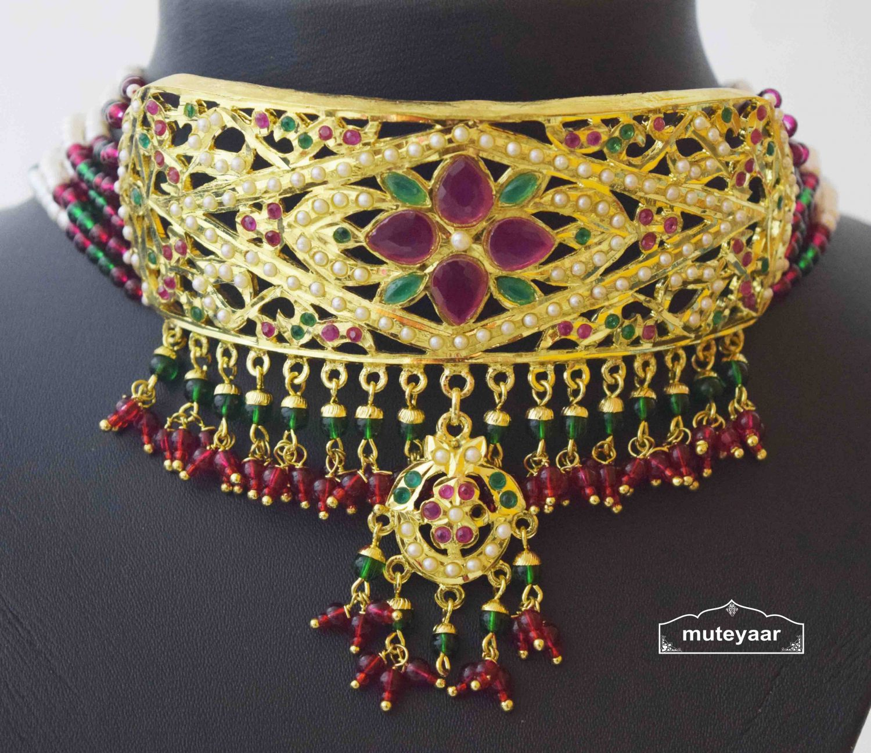 Gold Plated Ruby Emerald Jadau Gulband Set J4033 4