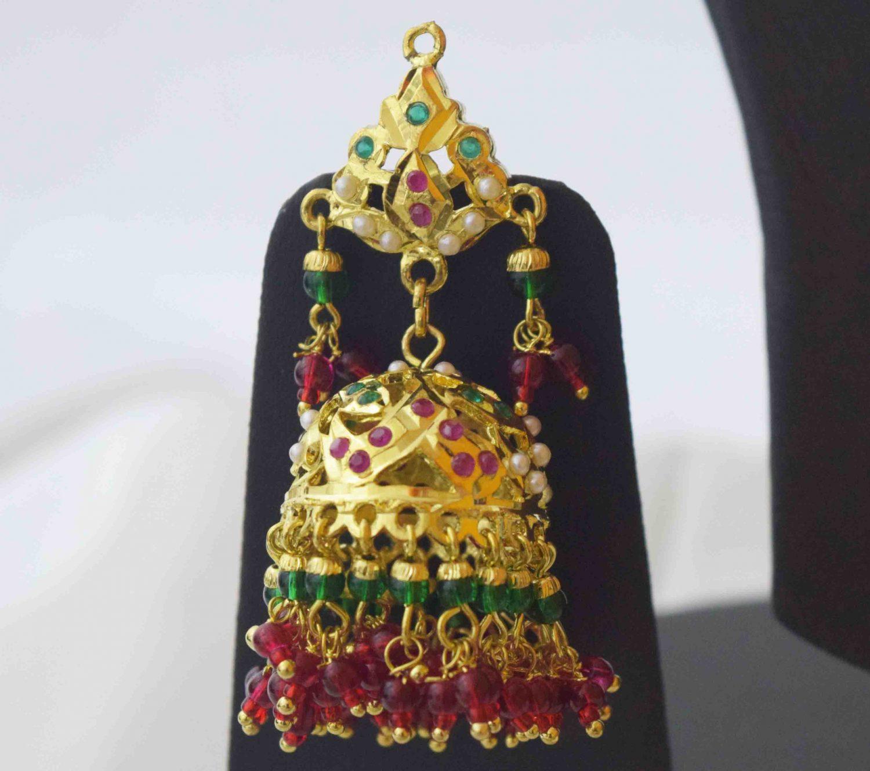 Gold Plated Ruby Emerald Jadau Gulband Set J4033 3