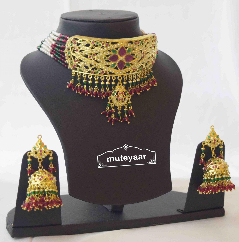 Gold Plated Ruby Emerald Jadau Gulband Set J4033 2