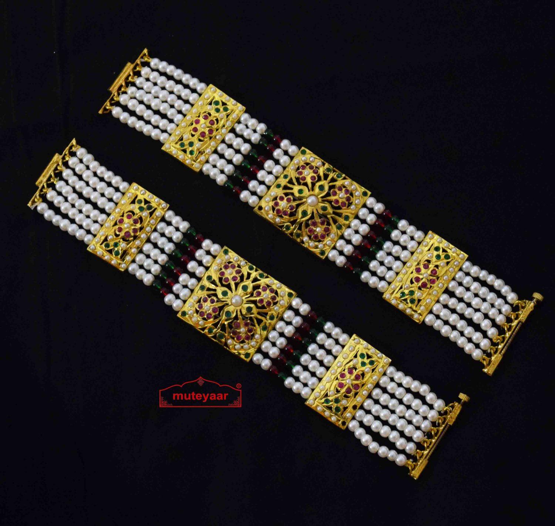 Gold Plated Jadau Bracelet Pair BN174 2