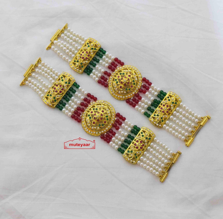 Gold Plated Jadau Bracelet Pair BN175 2