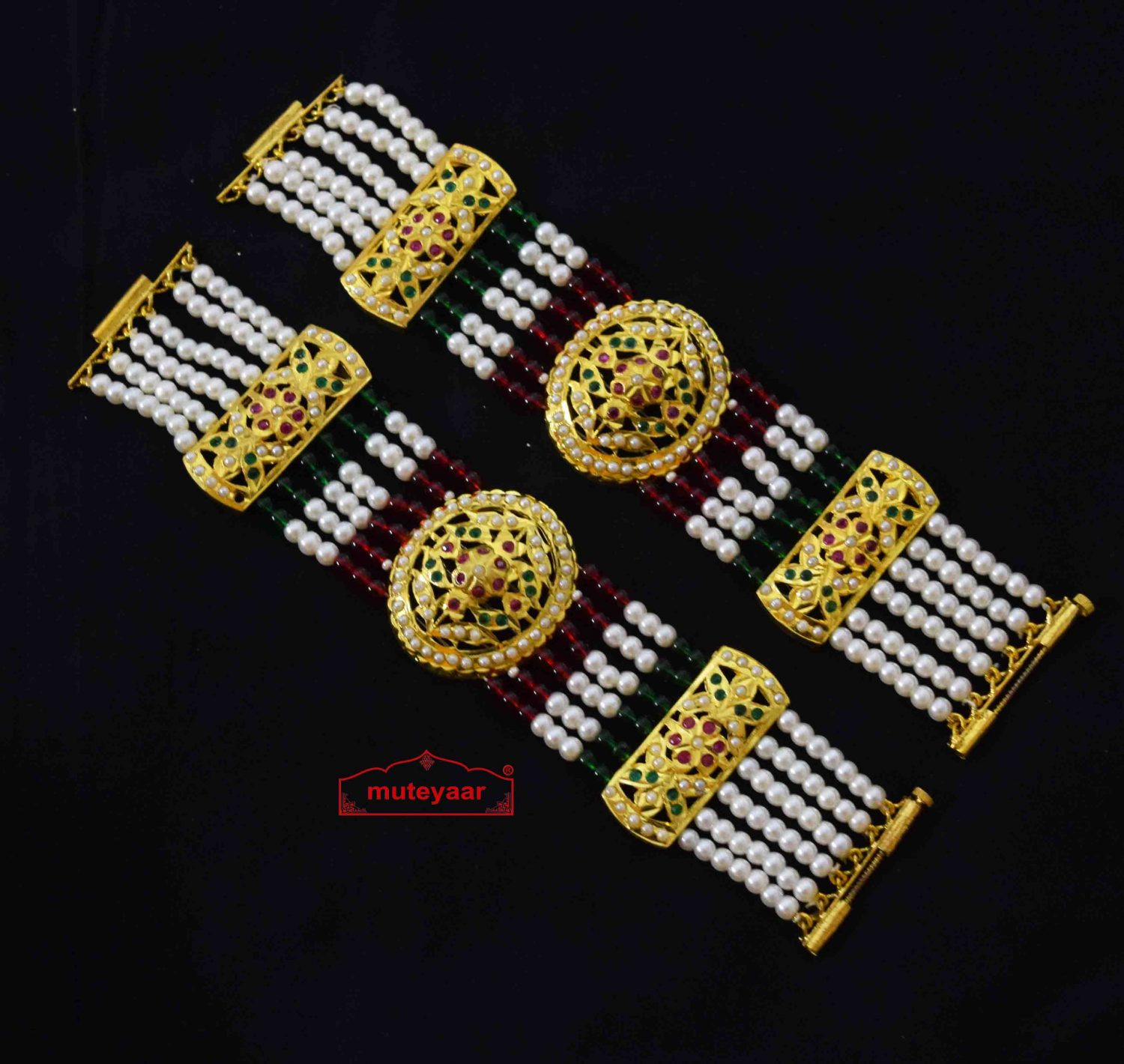 Gold Plated Jadau Bracelet Pair BN175 1