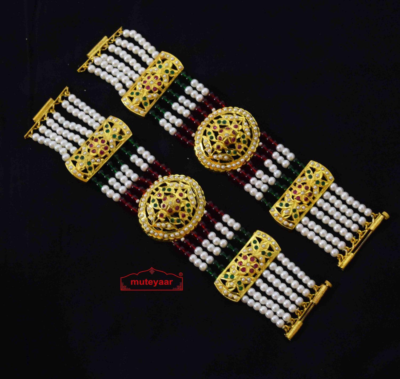 Gold Plated Jadau Bracelet Pair BN175 1