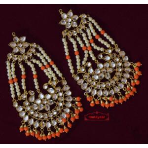 Long Kundan Earrings J0352 with Orange Beads