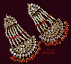 Red Long Kundan Earrings J0353