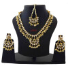 White Kundan Set of Tikka Earrings Necklace J0371