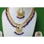 Blue Kundan Set of Tikka Earrings Necklace J0374