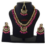 Hot Pink Kundan Set of Tikka Earrings Necklace J0375