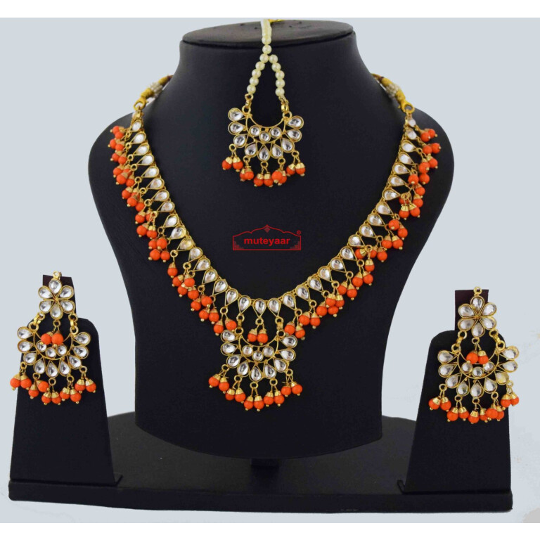 orange kundan set J0560