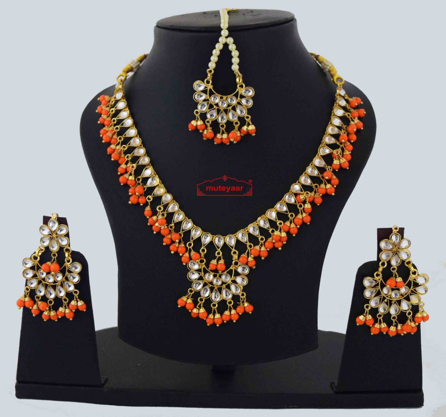 Orange Kundan Set J0560 1