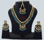 Firozi Kundan Tikka Earrings Necklace Set J0561