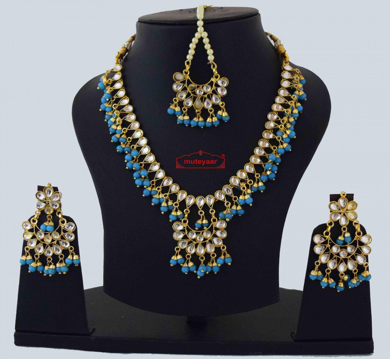 Firozi Kundan Tikka Earrings Necklace Set J0561 1