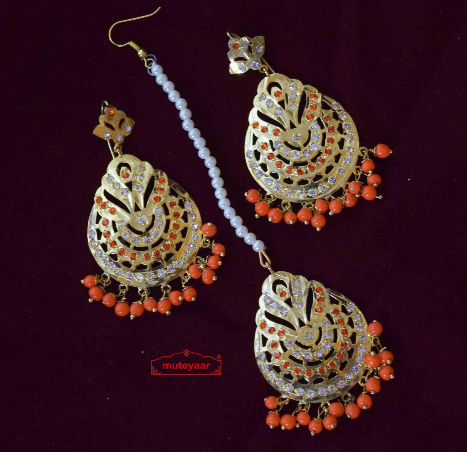 Orange Moti Jadau Earrings Tikka Set J0563 1