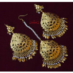 Cut Work Golden Earrings Tikka set J0564