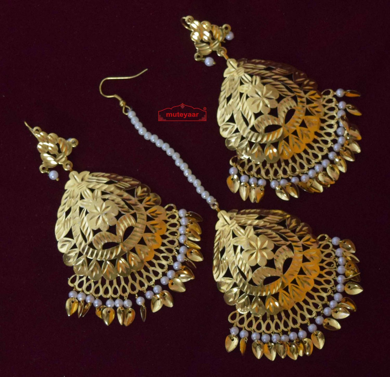 Cut Work Golden Earrings Tikka set J0564 2