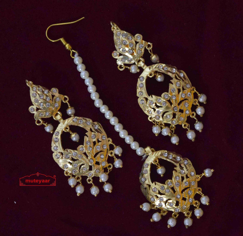 Jadau Tikka Earrings Set J0565 1