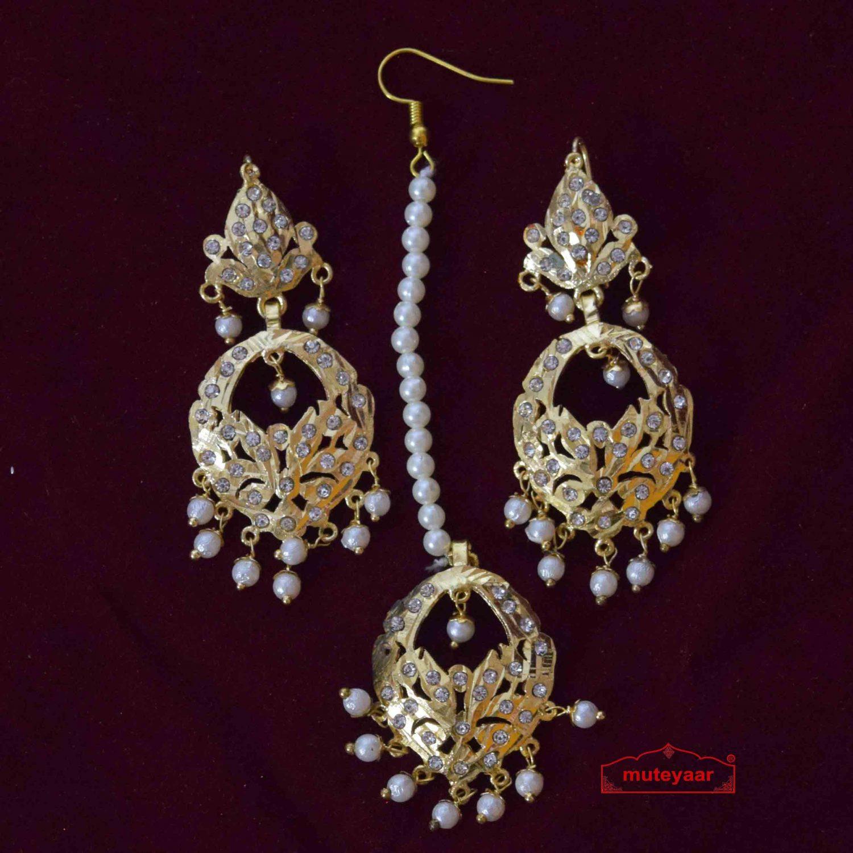 Jadau Tikka Earrings Set J0565 2