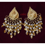 Tear Drop Earings with Moti Patta Hangings J0569