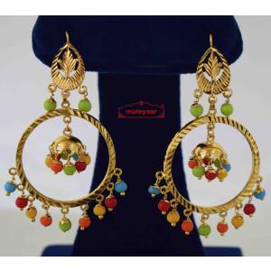 Golden Jhumki Earrings with Multicolour Beads J0570