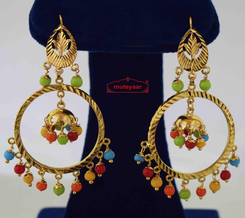 Golden Jhumki Earrings with Multicolour Beads J0570 1
