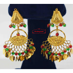 Golden Earings with red green beads J0571