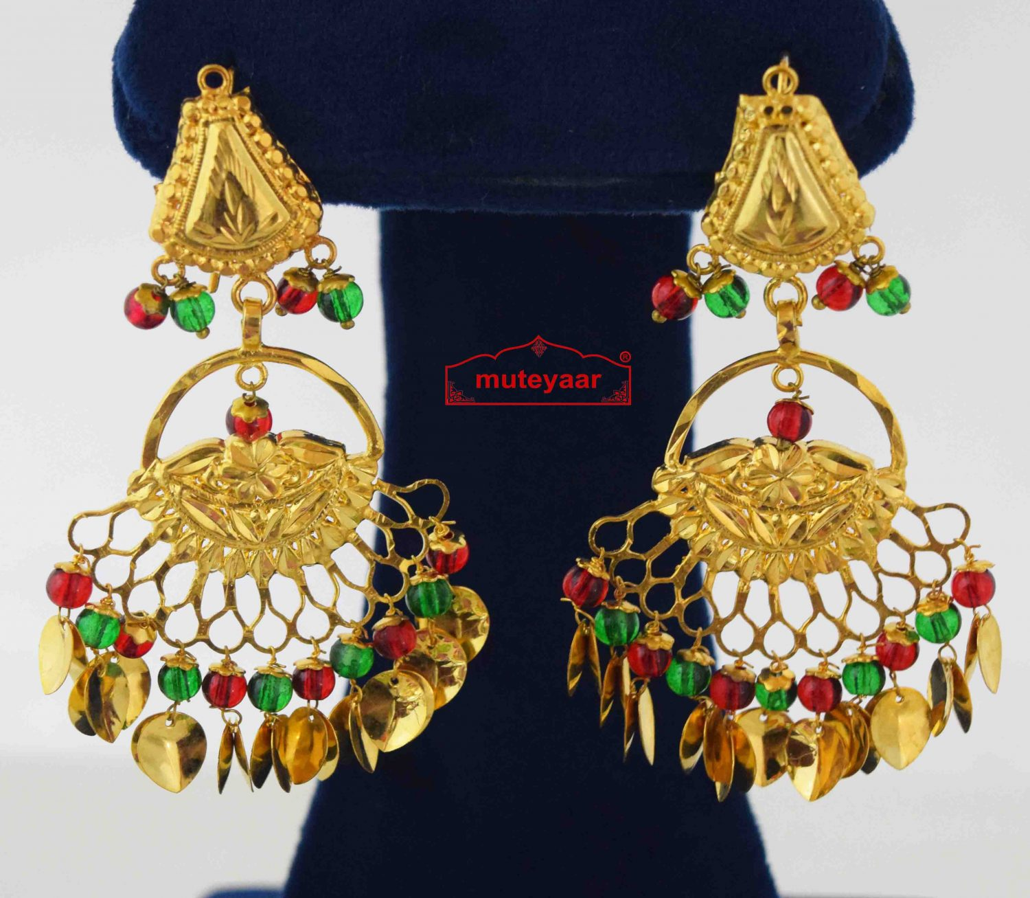 Golden Earings with red green beads J0571 1