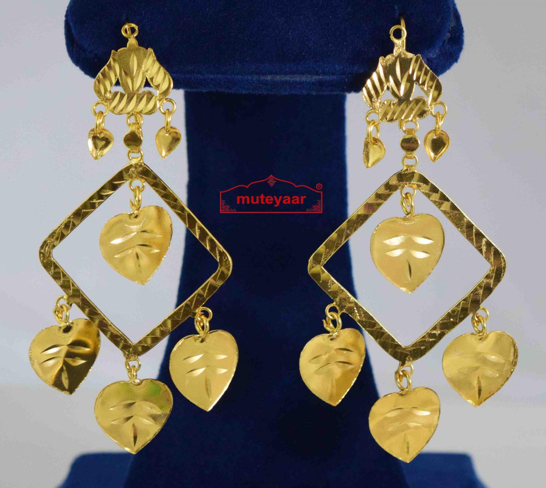 Golden Square Pipal Patti Earrings J0572 1